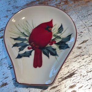 Lenox Americanbydesign redcardinal holly spoonrest